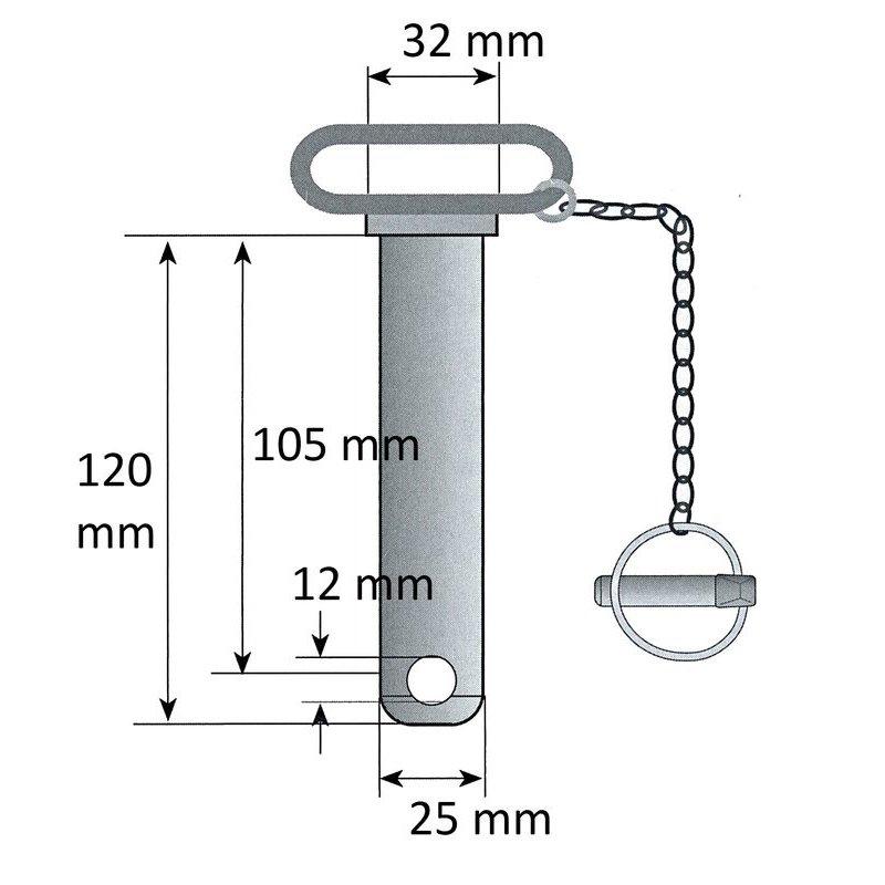 Oberlenkerbolzen Sicherungsbolzen Kat2 mit Kette+Splint Oberlenker,Steckbolzen